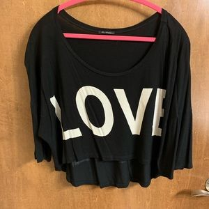 "Cropped ""Love/Hate"" Shirt"